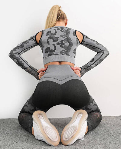 Women's Fitness Suit Honeycomb Leggings Hollow Out Yoga Suit