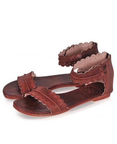 Flat Ankle Strap Casual Back Zipper Sandals dark brown