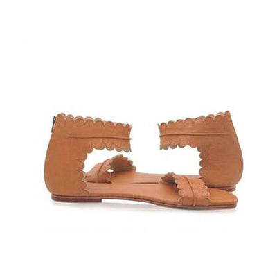 Flat Ankle Strap Casual Back Zipper Sandals BROWN