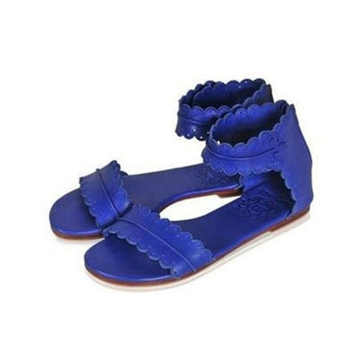 Flat Ankle Strap Casual Back Zipper Sandals BLUE