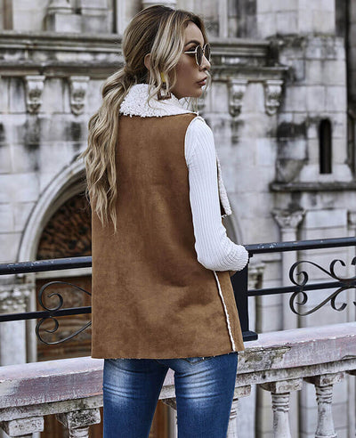 Womens Fleece Jacket Sleeveless Lapel Cardigan Coat