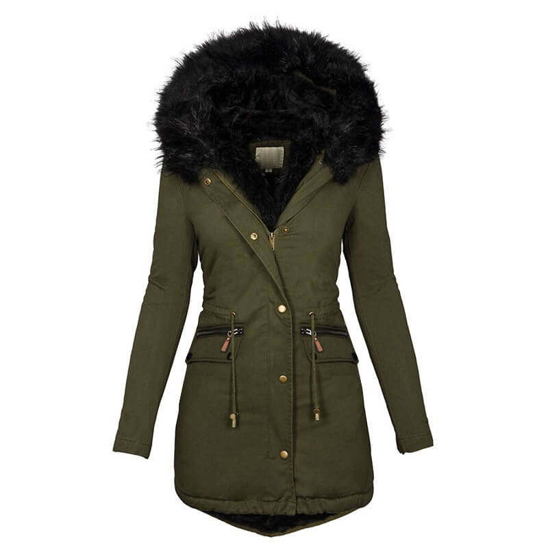 Womens Winter Hooded Coats Warm Fleece Jacket