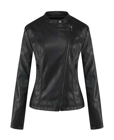 Womens Black Faux Leather Jacket-2