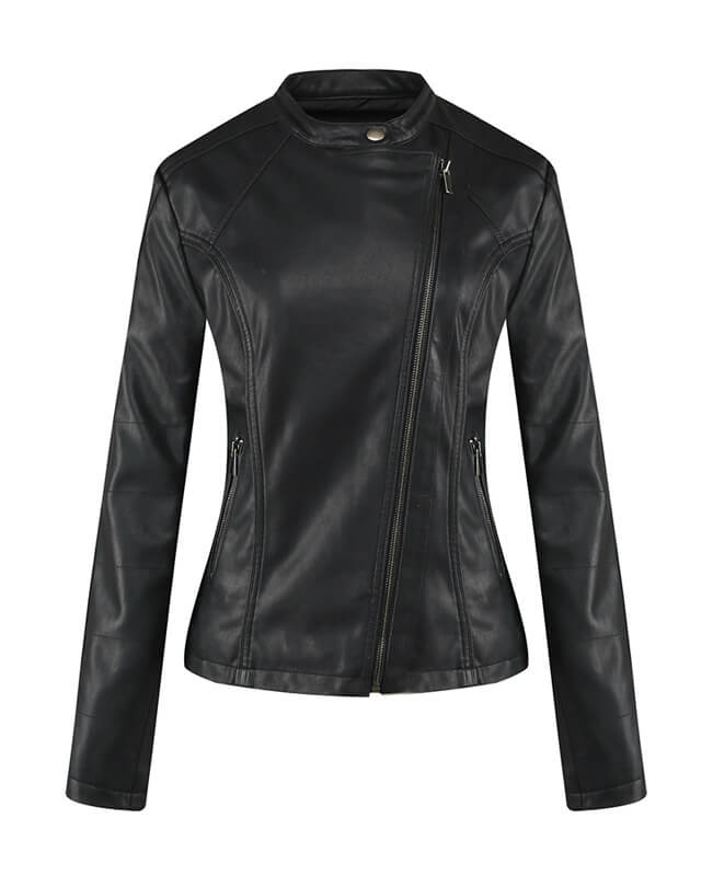 Womens Black Faux Leather Jacket
