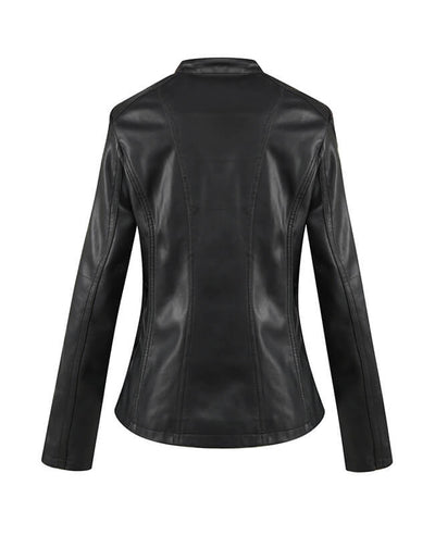 Womens Black Faux Leather Jacket-3