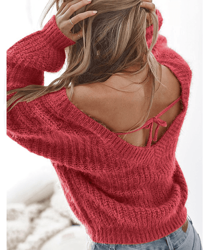 Backless Solid Color Loose Sweater-1