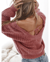 Backless Solid Color Loose Sweater-4