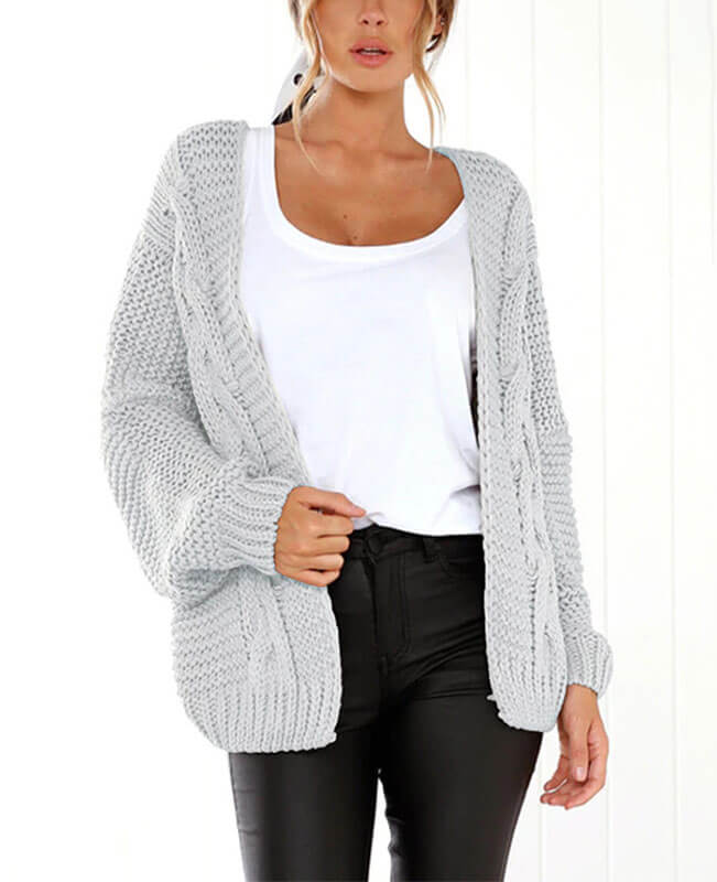 Batwing Sleeve Cable Knit Cardigan Sweater
