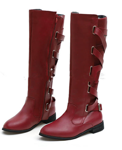 Buckle Cross Straps Knee Length Boots-5