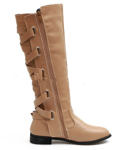 Buckle Cross Straps Knee Length Boots-6