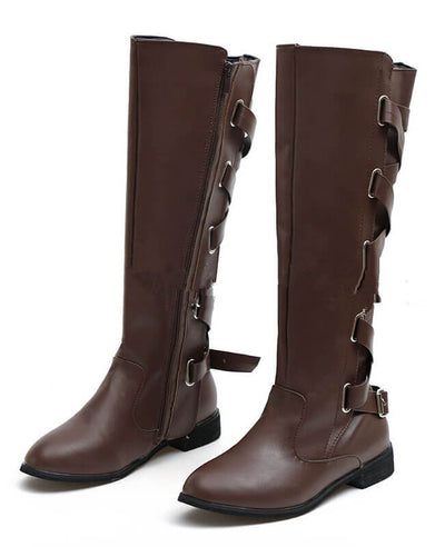 Buckle Cross Straps Knee Length Boots-4