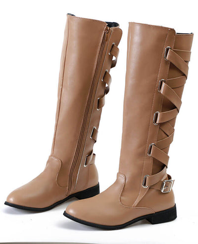 Buckle Cross Straps Knee Length Boots-3