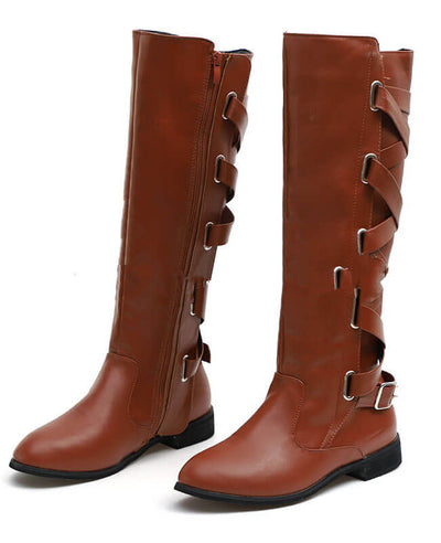Buckle Cross Straps Knee Length Boots-2