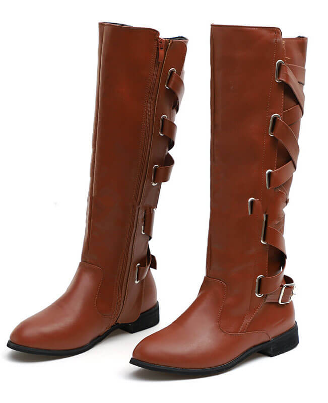 Buckle Cross Straps Knee Length Boots
