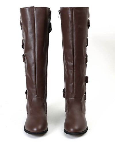 Buckle Cross Straps Knee Length Boots-7
