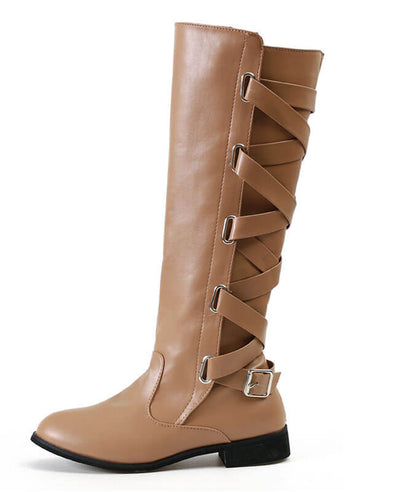Buckle Cross Straps Knee Length Boots-8