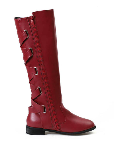 Buckle Cross Straps Knee Length Boots-9