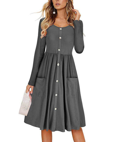Shop midi swing dress at Seamido.com and receive free shipping over $35. Complete your wardrobe with our swing dresses.-1
