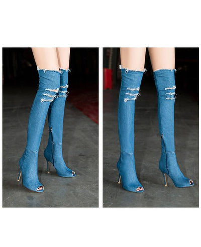 Stretch Denim Over The Knee Thigh High Peep Toe High Heels Boots LIGHT BLUE
