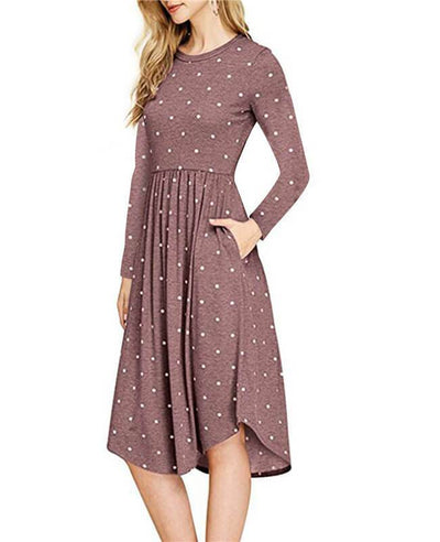 Dot Print Swing Midi Length Dresses