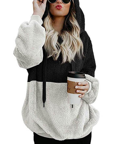 Double Fuzzy Hooded Pullover Hoodies