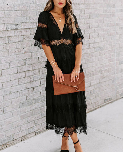 Black Lace Dresses Beach Maxi Dress