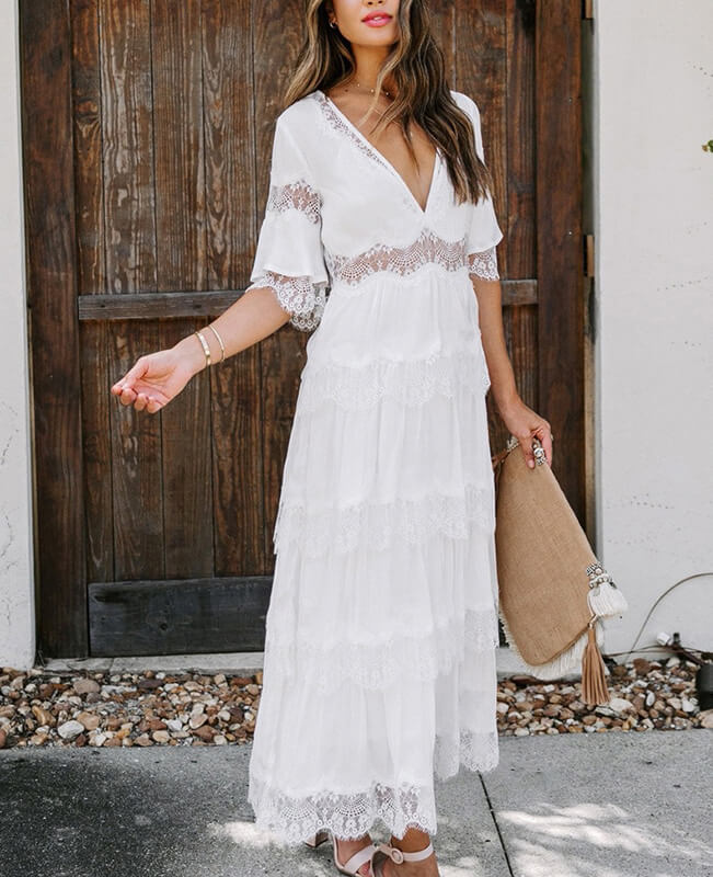 Loose Maxi Dress White Lace Dress For Women