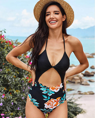 Halter Top Bikini Cute One Piece Bathing Suits