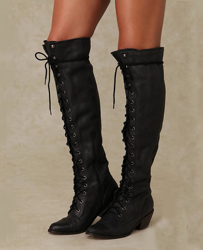 buy \u003e black lace knee high boots, Up to