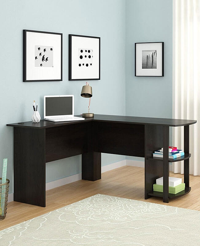 L Shaped Computer Table Writing Desk With Storage