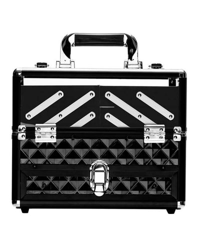 Small Travel Makeup Organizer Box Black Cosmetic Case