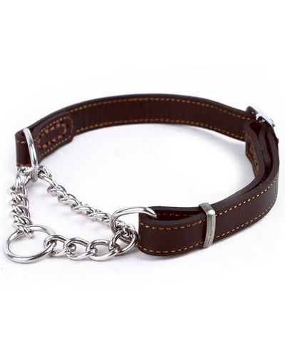 Martingale Collar Stainless Steel Chain Leather Dog Collars