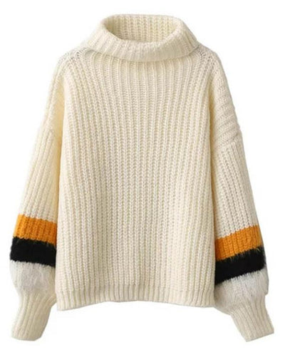 Woolen Patchwork Sleeve Turtleneck Sweater
