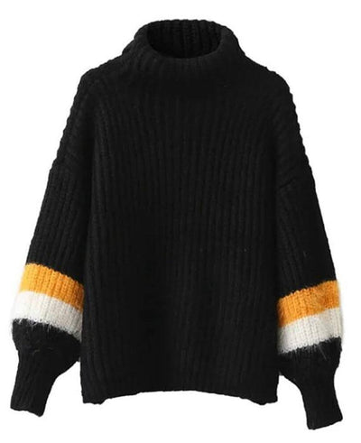 Patchwork Cable Knit Turtleneck Sweater-2