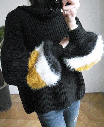 Patchwork Cable Knit Turtleneck Sweater-56