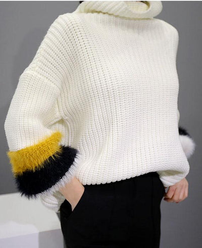 Patchwork Cable Knit Turtleneck Sweater-6