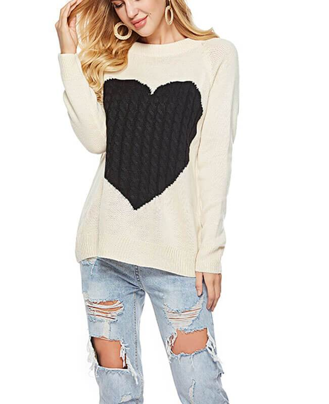 O-Neck Heart Shape Knit Sweater-1