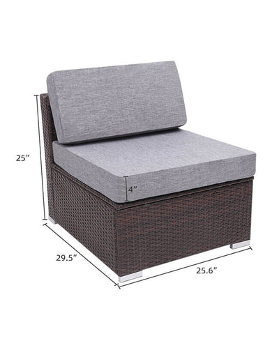 7 Pieces Outdoor Wicker Sofa Set Modern Sofa Sectional