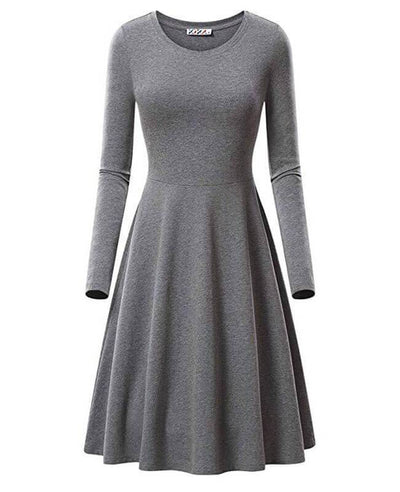 Round Neck Long Sleeve Solid Color Dresses