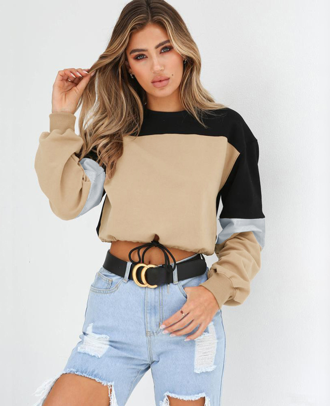 Color Patchwork Women Cropped Hoodie