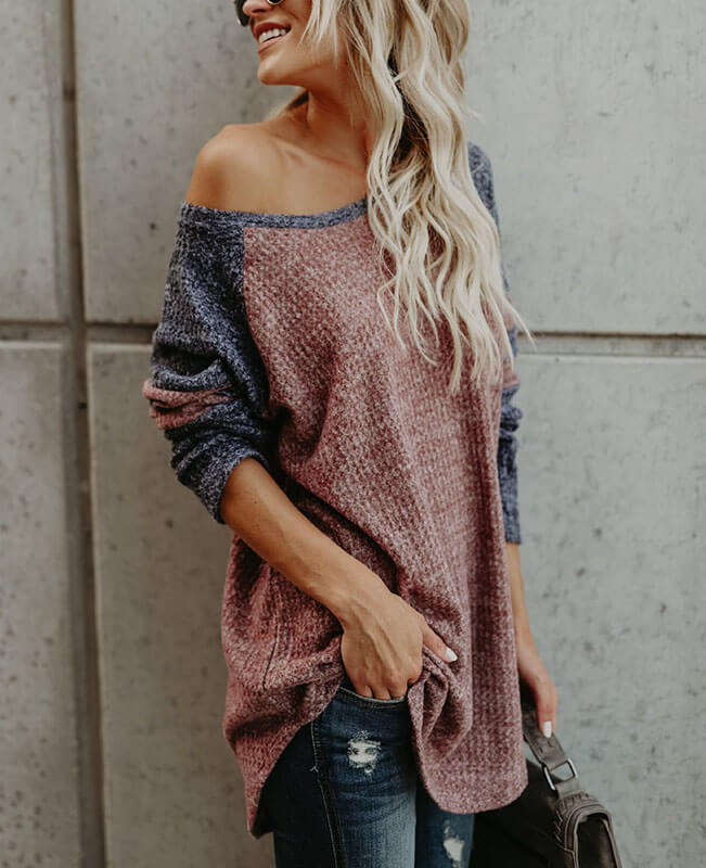 Color Patchwork Loose One Shoulder Sweater-1
