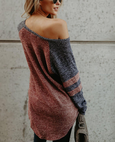 Color Patchwork Loose One Shoulder Sweater-3