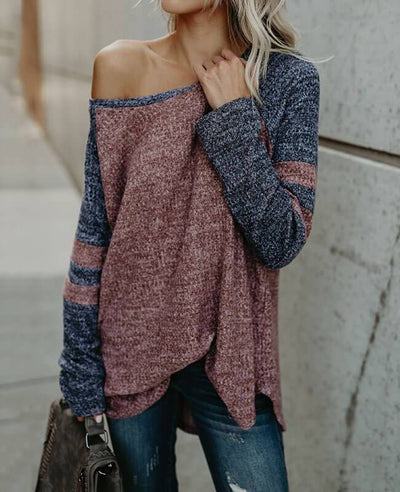 Color Patchwork Loose One Shoulder Sweater-4