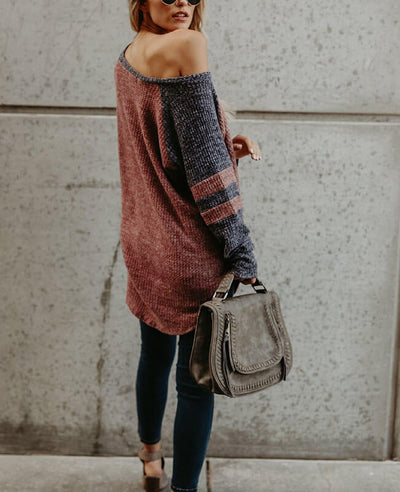 Color Patchwork Loose One Shoulder Sweater-5