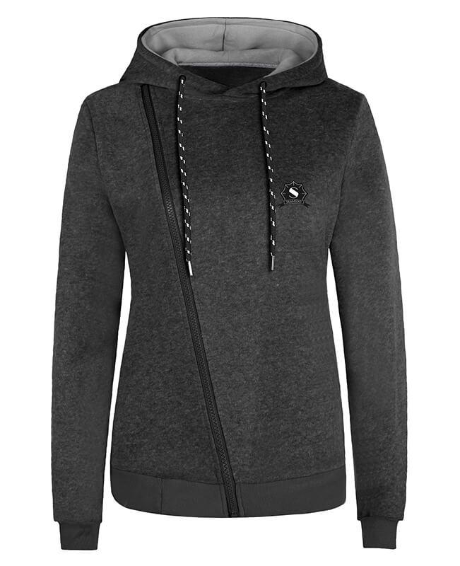 Seamido Drawstring Hooded Side Zip Hoodie-1