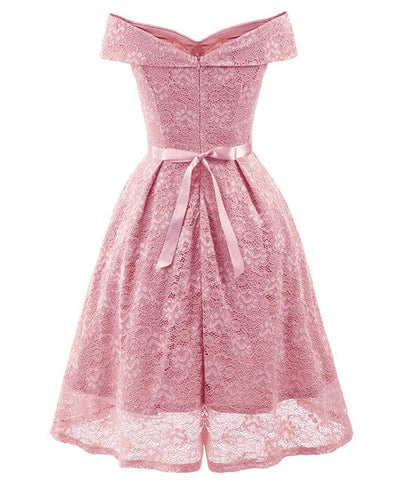 50s Style Vintage Lace Retro Rockabilly Party Dress-8