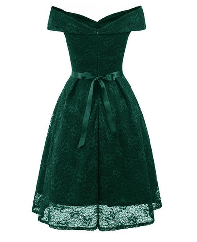 50s Style Vintage Lace Retro Rockabilly Party Dress-9