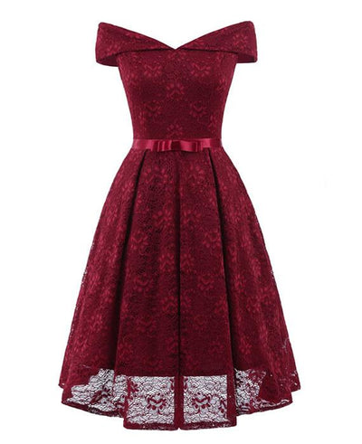 50s Style Vintage Lace Retro Rockabilly Party Dress-3