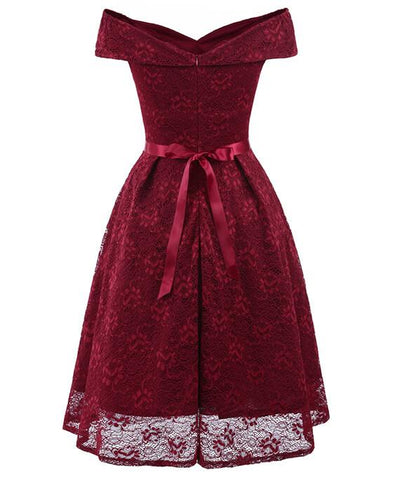 50s Style Vintage Lace Retro Rockabilly Party Dress-6