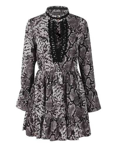 Bell Sleeve Loose Leopard Print Dress